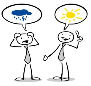 Optimist und Pessimist reden miteinander